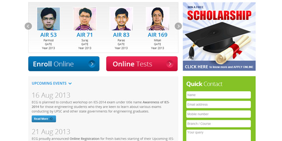 Engineers Career Group - Homepage (showcasing toppers & upcoming events)