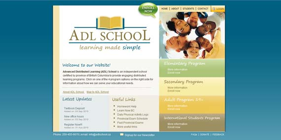 ADL School - Website (Home page)