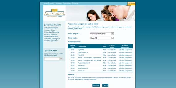 ADL School - Website (Sub-page)