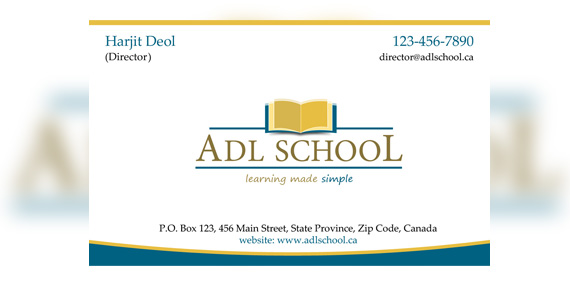 ADL School - Business card design