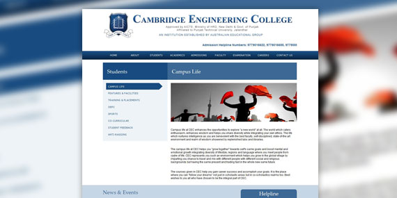 Cambridge Engineering College - Web Design (subpage)