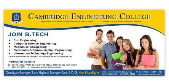 Cambridge Engineering College - 17x7 Flex Board/Hoarding Design