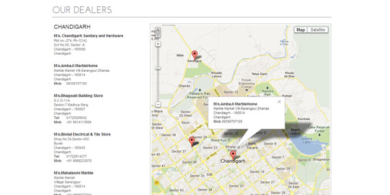 Dealer Locator using Google Maps API