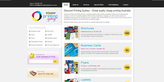 Discount Printing Sydney - Website Design