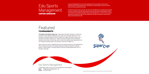 Edu Sports Management UK - Website Design