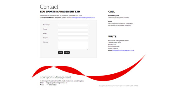 Edu Sports Management UK - Contact us Page Design