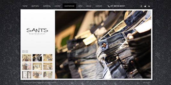 Commercial Photography - Portfolio website - Sants Photography