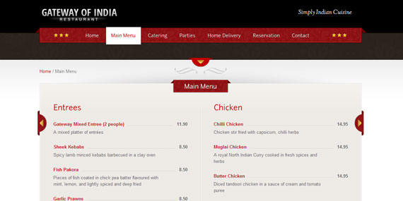 Restaurant Website - Menu Design