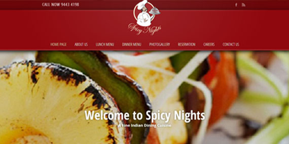 Indian Restaurant in Australia website