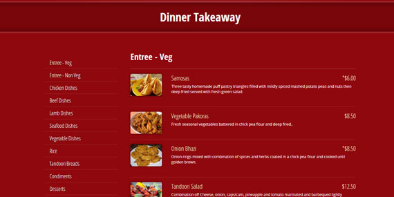 Indian Restaurant website - Online Menu