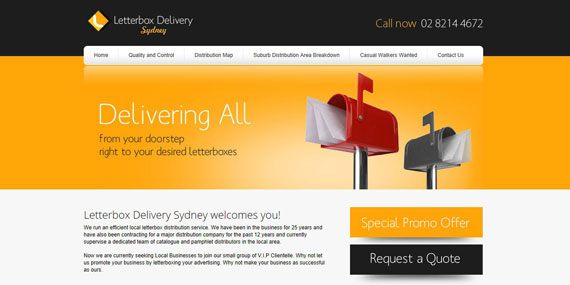 Letterbox Delivery Sydney Website Design