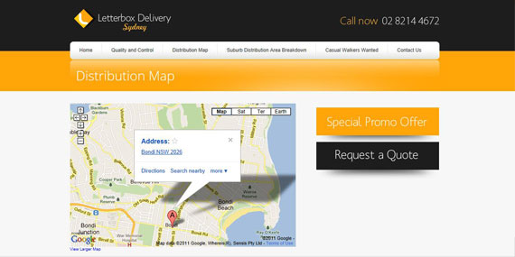Letterbox Delivery Sydney Website with Google Maps Integration