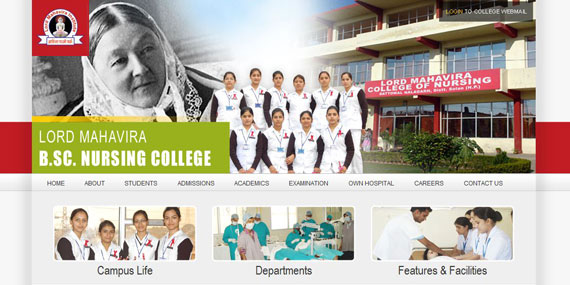 Nursing College Website header with slide show