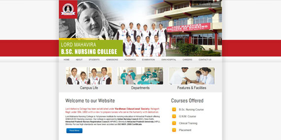 Nursing College Website Homepage Design