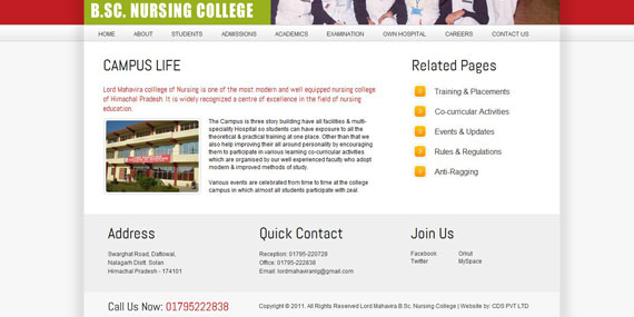 Nursing College Website Subpage