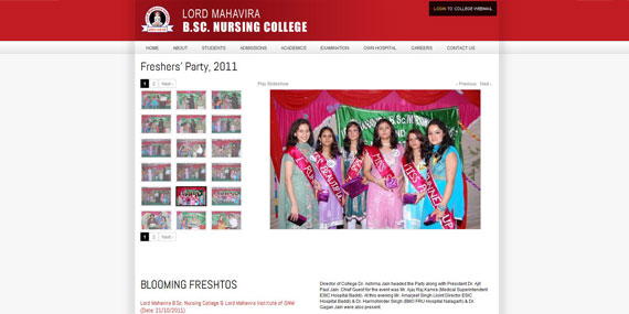 Nursing College Photo Gallery with thumbnails