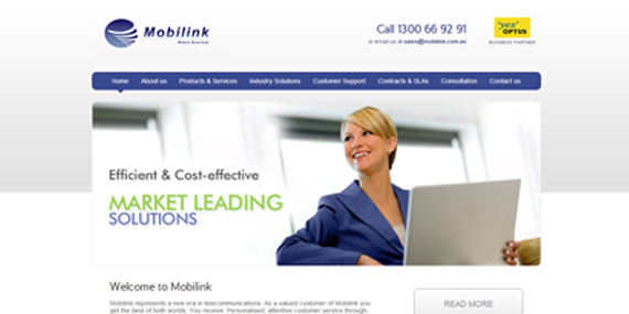 Optus channel partner Mobilink website