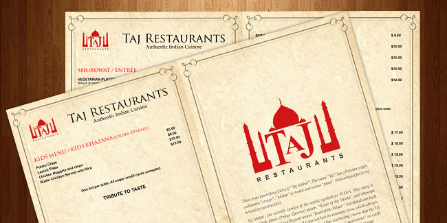 Taj Restaurants - Menu Design