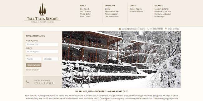 Tall Trees Resort Manali - Website Design
