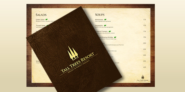 Tall Trees Resort Manali - Restaurant Menu Design